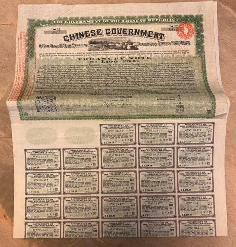 China Chinese Government: 1919 Vicker