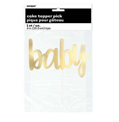 "1 ""TWINKLE TWINKLE LITTLE STAR"" 6"" Gold Foil ""BABY"" Cake Topper Pick Baby Shower"