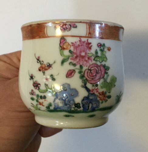 Antique 18th century Chinese Export Famille Rose Porcelain Cup Pot de Creme 1780