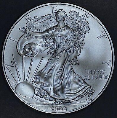 2008 1 oz AMERICAN SILVER EAGLE BRILLIANT UNCIRCULATED ASE  SKU2008B