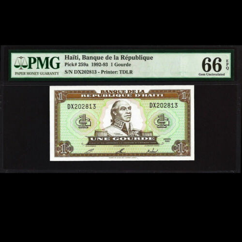 Haiti 1 Gourde 1992 1993 Banknote PMG 66 GEM UNCIRCULATED EPQ P-259a TDLR