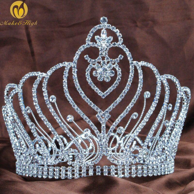 Full Round Tiaras Crowns Women Crystal Rhinestones Wedding Pageant Hair Jewelry