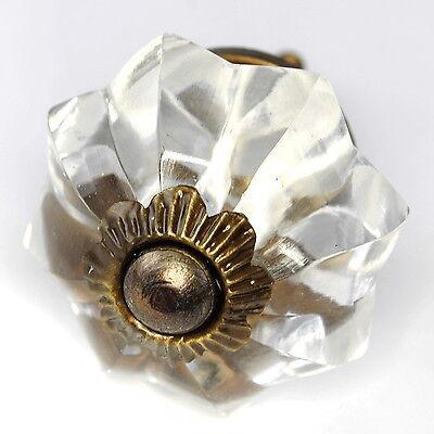 - Vintage Glass Drawer Pulls, Knobs for Dresser or Antique Brass Handle Set/6