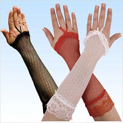 Lange Fingerlose Netzhandschuhe schwarz, weiß, rot Netz Handschuhe Handschuh ()