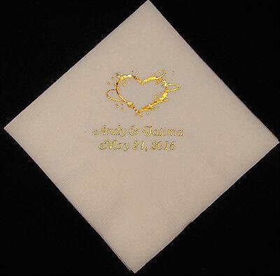 200 Personalized Wedding beverage napkins cocktail custom printed wedding favors (Printed Wedding Napkins)