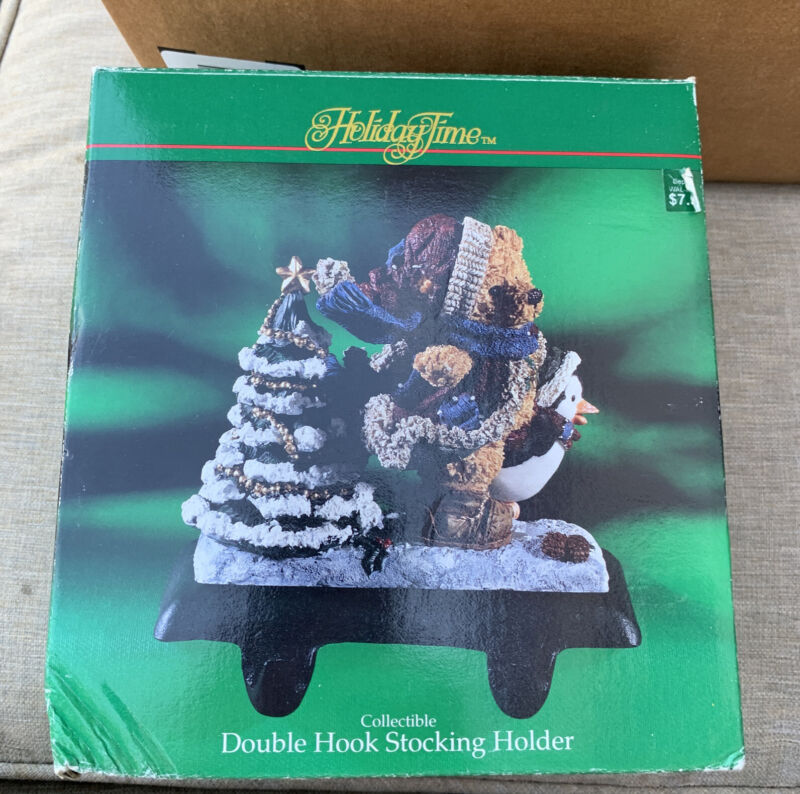 New Holiday Time Bear Double Hook Stocking Holder Cast Iron Original Package