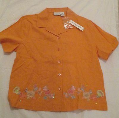 Kim Rogers Embroidered Blouse Orange Petite Medium With Tags