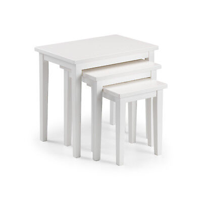 Cleo White Nest of Tables solid Malaysian hardwood- Free Delivery