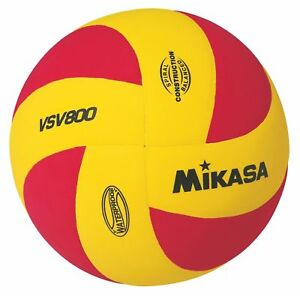 Mikasa All Purpose Volleyball, Water Proof-No Sting Pillow Cover Ball-Yellow-Red