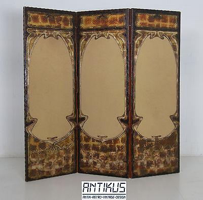 Original Jugendstil Paravent Raumteiler Spanische Wand Art Nouveau antik Leder