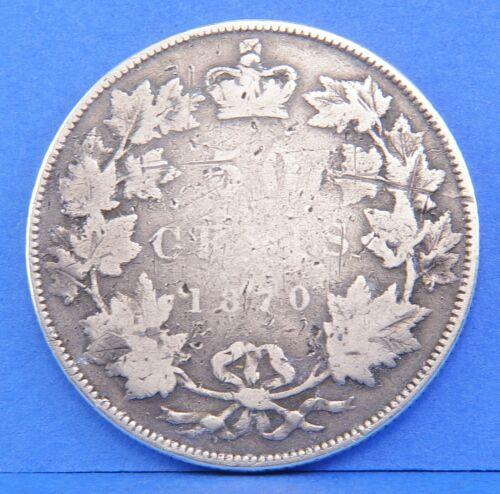 1870 Victoria 50 Cents Canada Half Dollar Coin LCW
