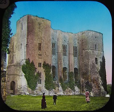STUNNING COLOUR Glass Magic Lantern Slide KENILWORTH CASTLE NO2 C1890 PHOTO