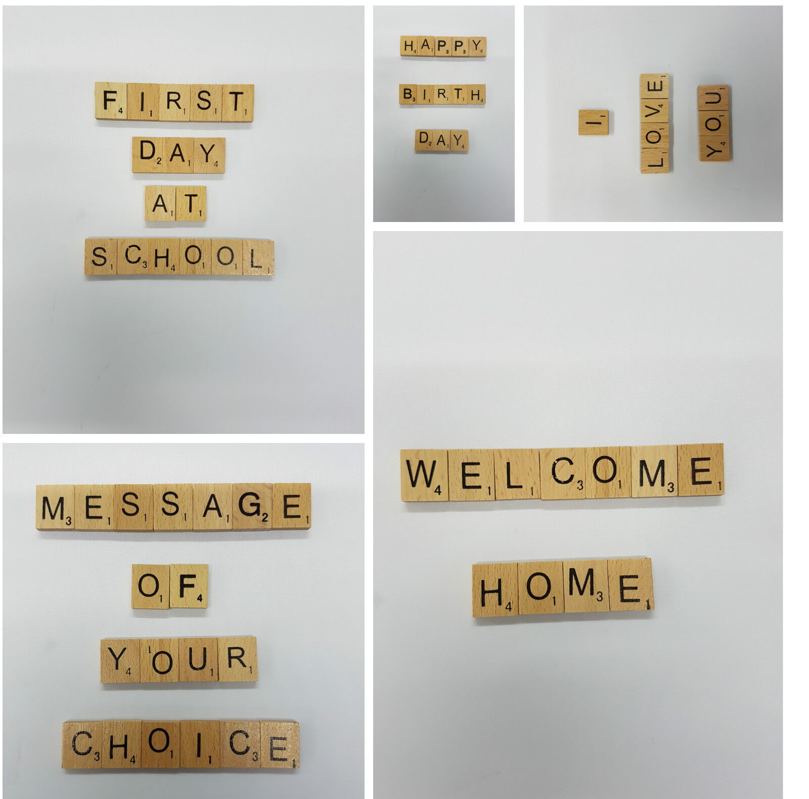 Customise Wooden Scrabble Choice Tiles Letters Number Special Messages Occasion