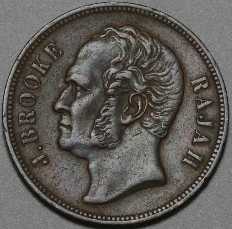 1863 Sarawak 1 Cent Malaysia J Brook Rajah Coin (19101002R)