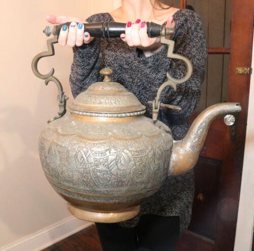 Huge antique handmade copper brass Middle Eastern dovetailed teapot kettle