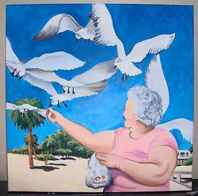 (Printable Wall Art Print Grandma Feeding Gulls Home Decor Instant Download)