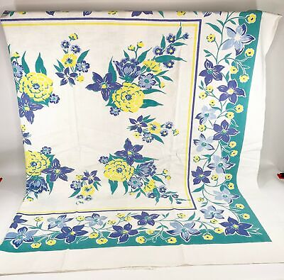 "Vintage Cotton Floral Printed Tablecloth Purple & Yellow 53"" x 47"""