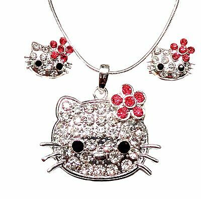 Hello Kitty Adorable Necklace and Earrings Set Pink Flower Gift Boxed - Adorable Necklace Set