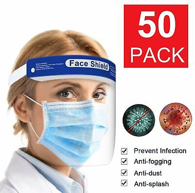 50 Pack Safety Full Face Shield Reusable Clear Washable Face Anti-Splash Clothing, Shoes & Accessories