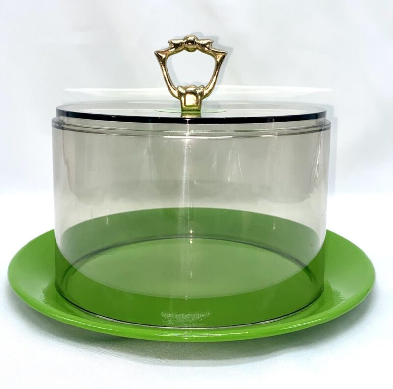 Vintage green and clear cloche acrylic covered plate