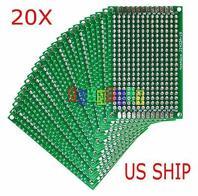 20pcs 4x6 Cm Double Side Diy Prototype Circuit Breadboard Pcb Universal Board