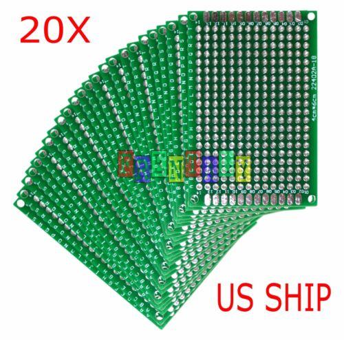 20pcs 4x6 cm Double Side DIY Prototype Circuit Breadboard PCB Universal Board