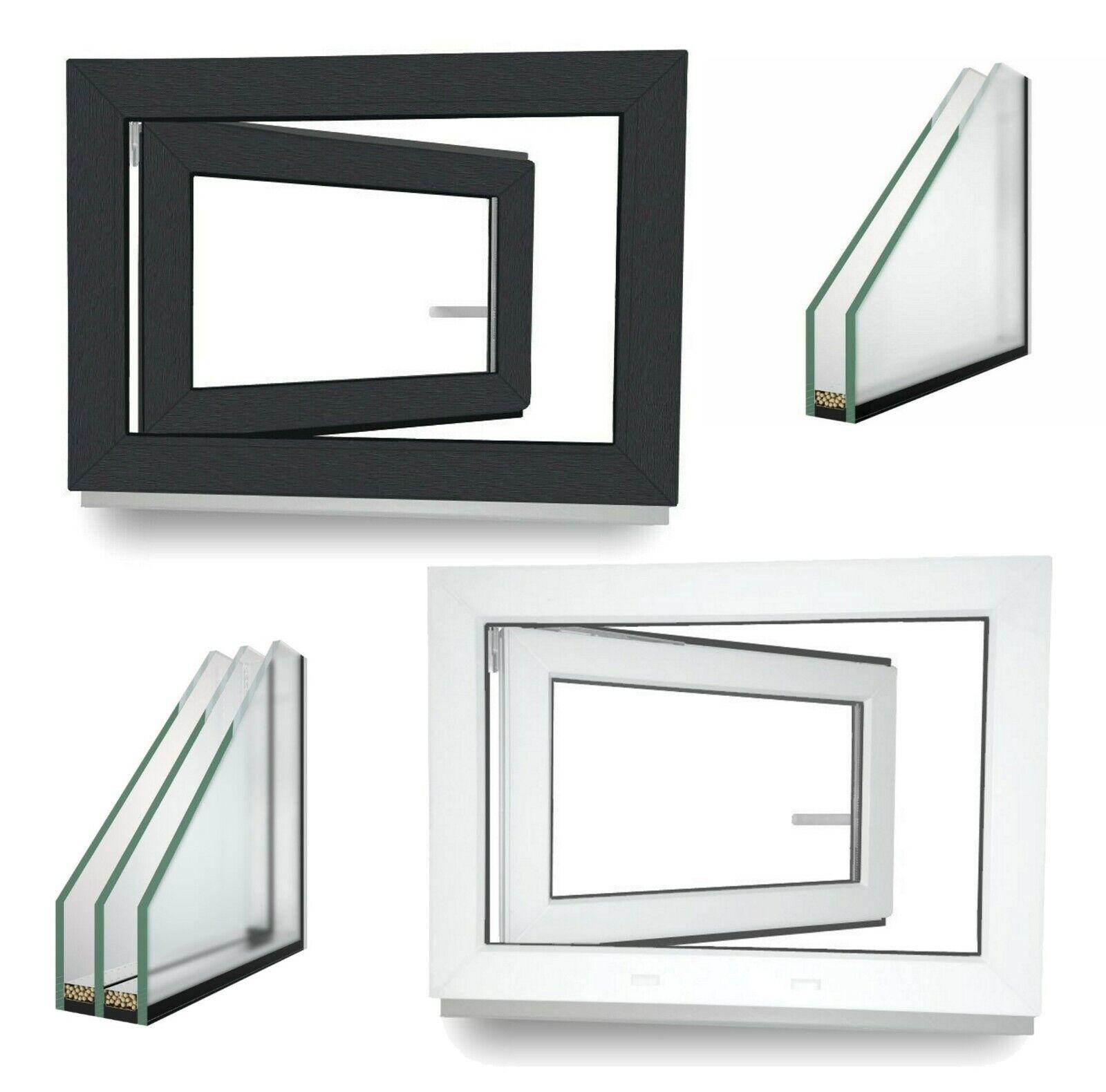 Kellerfenster Kunststoff Fenster Dreh Kipp 2 3 verglast weiß oder Anthrazit