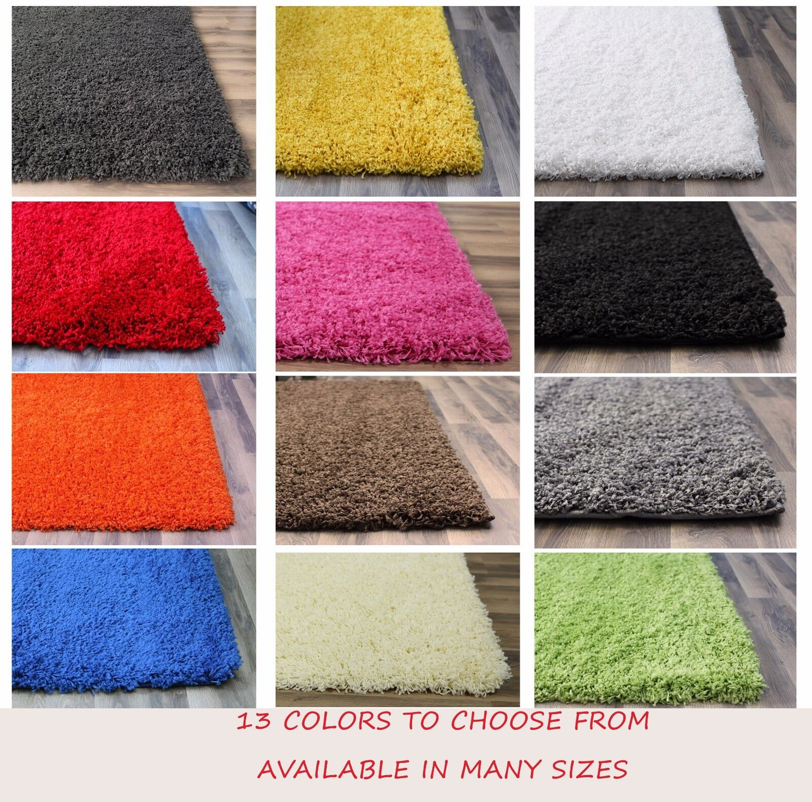 solid shag area rug in 5x8 8x10 3x5 4x6 white black red yell