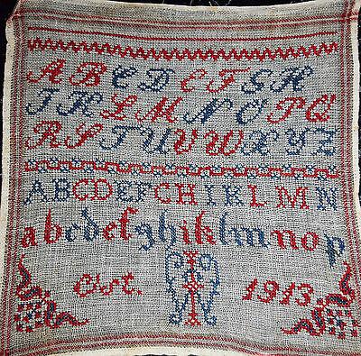 * Schönes altes Stickmustertuch - Ostern 1913 * (123-17)