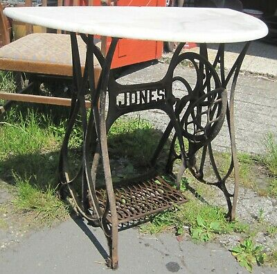 Antique Outside Table. Marble and Iron.
