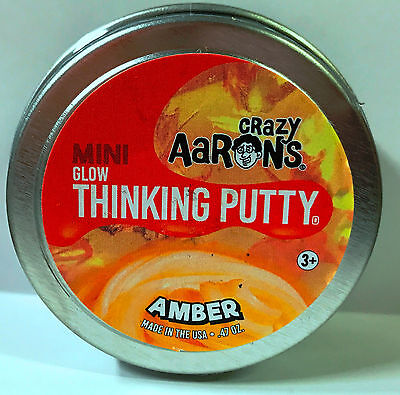Amber Glow In The Dark Crazy Aarons Thinking Putty New Small 2 Inch Tin  47Oz