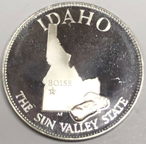 # c2570    FRANKLIN  MINT  STERLING  SILVER  MEDAL,  STATE OF  IDAHO