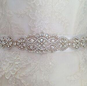 Bridal Wedding Dress Belt Ivory Pearl And Crystal Sparkle Ribbon Tie B101