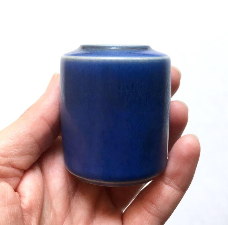"""Vintage Per Linnemann-Schmidt Palshus Matte Blue Stoneware Miniature Vase 2.25"""""""