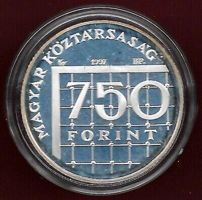 Hungary 1997 BP 750 forint silver coin in original gift box + coa