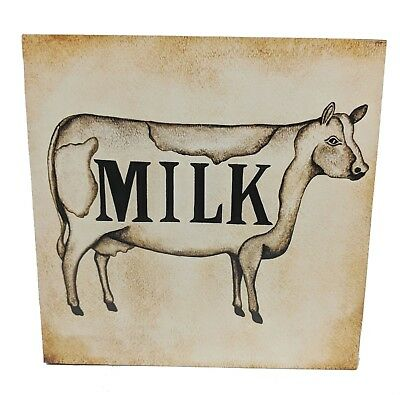 Primitive Country Milk Wood Box Sign with Cow Kitchen Farmhouse Decor