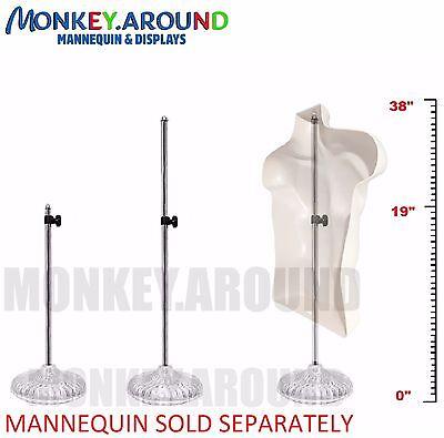 $8.95 - 1 DECOR DISPLAY STAND - USED W/ MANNEQUIN DRESS TORSO BODY HALF FORM, ADJUSTABLE