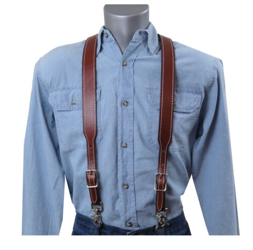 Brown Leather Suspenders with White Stitching and scissor snaps