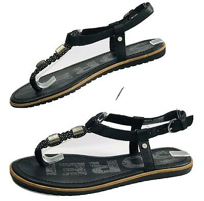 Sorel NL2902-010 Ella T-Strap Womens Size 7 Black Leather Thongs Sandals EUC