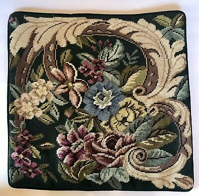 """16"""" X 16"""" Wool Needlepoint Floral Pillow / Cushion Cover"""
