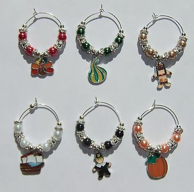 HOLIDAY BEADED WINE GLASS CHARM MARKERS (CHOOSE FROM 8 (Holiday Wine Charms)