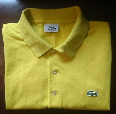 LACOSTE SPORT POLO SHIRT, DEVANLAY. SIZE - 5 / LARGE YELLOW