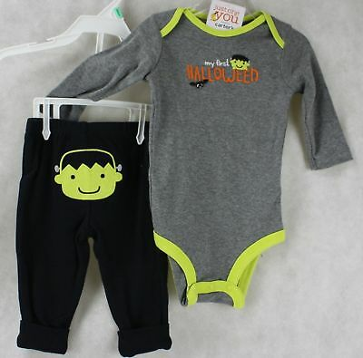 Halloween Carter's My First Halloween Gray Bodysuit Black Pants Newborn NWT