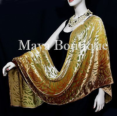 Maya Matazaro Hand Dyed Caramel Gold Camellia Shawl Wrap Scarf Burnout Velvet