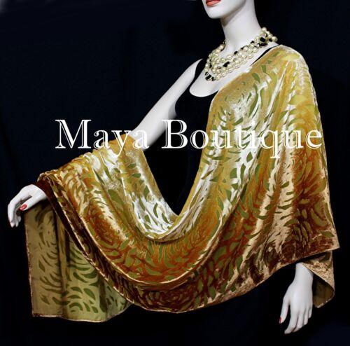 Maya+Matazaro+Hand+Dyed+Caramel+Gold+Camellia+Shawl+Wrap+Scarf+Burnout+Velvet+