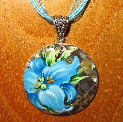 BLUE LILY FLOWER PENDANT Genuine Russian hand painted Abalon SHELL Unique ART