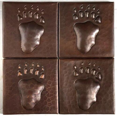 "Hand Hammered Copper Tile-Copper Accent Tile-Bear Paw Design-4""x 4"" Tiles Set 4"