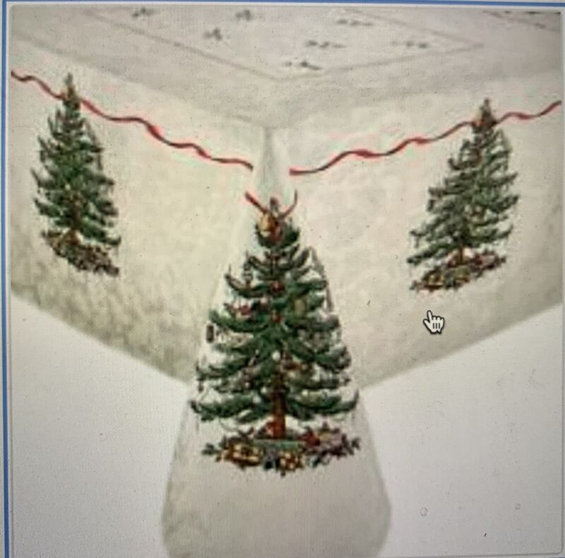 """Spode CHRISTMAS TREE TABLECLOTH  60"""" x 102"""" Seats 8-10 People New In Opened Pkg"""