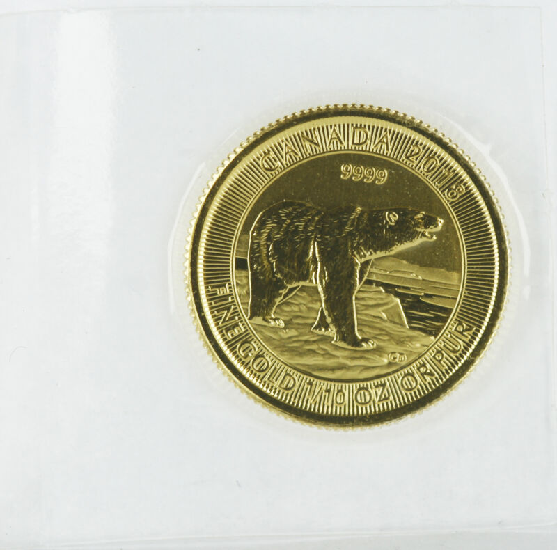 2018 - $5 1/10oz Gold Polar Bear .9999 - Sealed Plastic