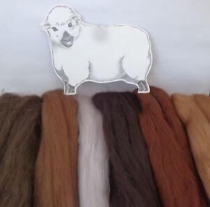 MERINO / CORRIEDALE wool roving / tops / needle felting BROWN ANIMAL Shades 60g